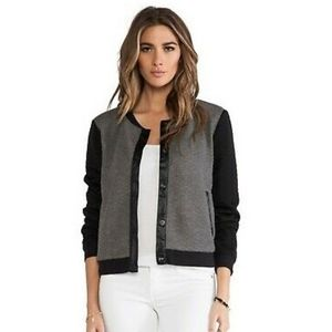 Sanctuary Gray/Black Quilted Varsity Jacket M